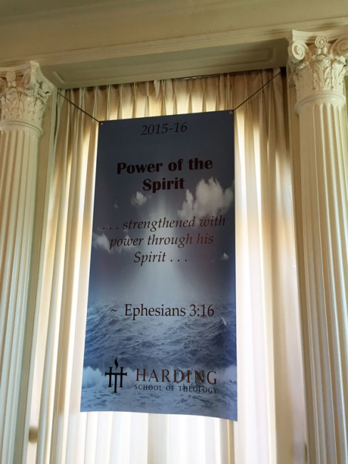 A banner hangs at the front of the chapel reminding us of our special focus for the year.