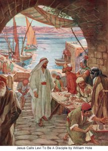 Watercolor by William Hole, 1908, Jesus Calls Levi
